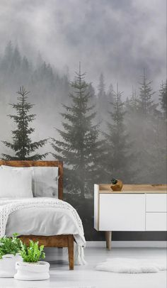 Forest wallpaper and gorgeous tree wallpaper murals bring the natural beauty of the outdoors in. Ideal for application in your bedroom, our forest murals are popular for creating a zen sleeping space. They're beautiful yet versatile and will add a sense of depth and texture to any indoor space. Choose from panoramic forests that will add a 'WOW' factor to any room in the home, or create an atmosphere with seasonal trees. See these and more at Wallsauce.com #treewallpaper #bedroominspo Tree Wallpaper Mural, Forest Wallpaper, Tree Wallpaper Living Room, Kids Wallpaper, Forest Bedroom, Forest Mural, Forest Decor, Bedroom Green, My Living Room