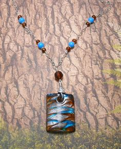 Glass Focal Necklace In Blue Silver & Brown by SpiritualPathways, $15.00