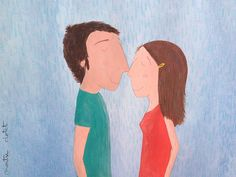 On the brink of a kiss, by Montse Clotet.  rain, kiss under the rain, illustration, watercolour, acrylic, montseclotet, artforkids