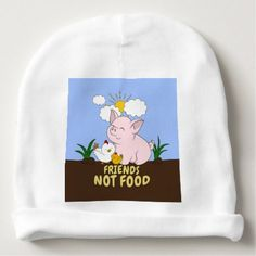#cute #baby #beanies #babybeanies - #Friends Not Food - Cute Pig and Chicken Baby Beanie