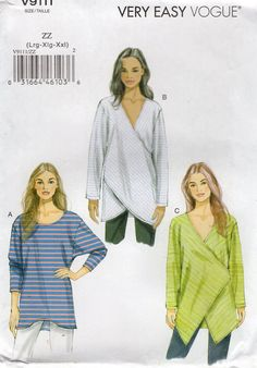 Free Us Ship Sewing Pattern Vogue 9111 Funky Wrap Tunic Tops Dolman Sleeves Uncut Size 1618 20 22 24 26 Bust 38 40 42 44 46 2015 by LanetzLiving on Etsy