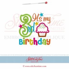 947 BIRTHDAY : 3 With Cupcake Applique 5