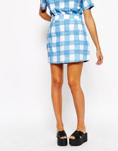 Image 4 of Lazy Oaf Mini Skirt With All Over Gingham Cat Print Co-Ord