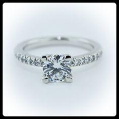 Round Brilliant Moissanite Vintage Engagement Ring Diamond Side Stones Name  Pave Band