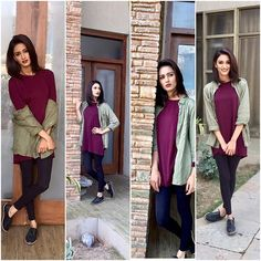 Casual days outfit Full sleeves wine tunic paired with khaki coloured shirt n black ankle length pants/leggings Simple stud earrings should just be fine Optional - watch Bag - crossbody / sling bag Clothes (zara) shoes (forever Casual Day Outfits, Casual Hijab Outfit, Stylish Outfits, Fall Outfits, Summer Outfits, Cute Outfits, Fashion Outfits, Ankle Length Leggings, Indian Tv Actress