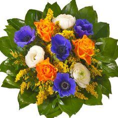 blau, Orange und weiß #Blumen Haufen mit etwas grün