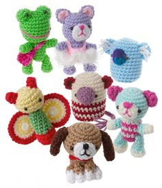 "Crochet this group of little friends with scraps of worsted-weight yarn. Called ""amigurumi"" in Japan—translation ""knitted doll""—little crocheted animals and dolls have become a favorite of collectors worldwide. This collection includes Bridgette Bear, Cattarina Ballerina, Malcolm Mouse, Felicia Firefly, Karla Koala, Florian Frog and Bailey Beagle, all approximately 3 to 4 1/2"" tall. Skill level: Easy.Size3"" to 4 1/2"" tallMaterialsWorsted weight yarn..."