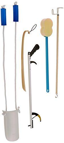 Sammons Preston 210301 Complete Hip  Knee Equipment Kit with Four Daily Living Tools Includes 26 Reacher Sock  Dressing Aid Shoehorn  Bathing Sponge ** Want to know more, click on the image.