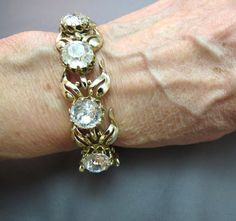 VTG Kramer Headlight Crystals Link Bracelet Silver Flower Open Petals Stones Wow…