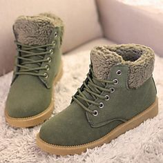 Suede Flat Heel Snow Boots Ankle Boots(More Colors)