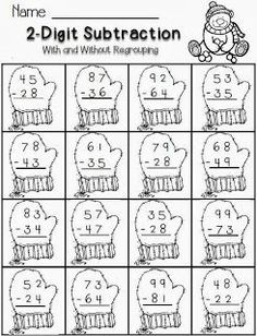 Christmas math--2-digit subtraction with regrouping-FREE