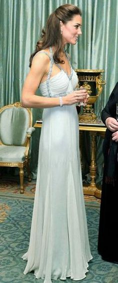Kate Middleton in a vintage Amanda Wakeley gown.