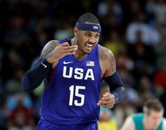 US men's basketball team gets tested, beats Australia  -  August 10, 2016  -      United States' Carmelo Anthony (15) reacts to a score against Australia during a men's basketball game at the 2016 Summer Olympics in Rio de Janeiro, Brazil, Wednesday, Aug. 10, 2016.