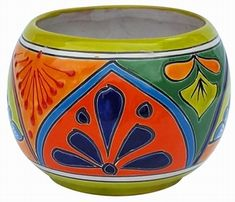 Talavera Round Bule Lime Rim - We have beautiful pottery, terracotta pots and ollas for your home and garden. We ship our handcrafted pottery directly to you. Shop Arizona Pottery now! Decorated Flower Pots, Painted Flower Pots, Painted Pots, Hand Painted, Talavera Pottery, Pottery Art, Southwest Art, Southwestern Style, Flower Pot Design