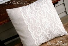 """This was on """"sweetfloweret's"""" blog.  So cute! Would even look cute with a bright color underneath, and a contrasting lace. Linen and Lace 14x14 Pillow Cover and Pillow. $21.00, via Etsy."""