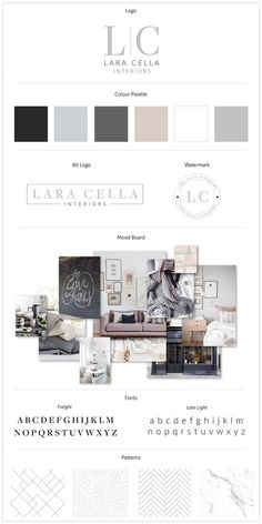 furniture store Brand Board Design for Lara Cella Interiors. Check out the Lady Boss Studio Portfolio to see this earthy and stunning brand design for a Boutique Furniture Store. We cant get enough of this brand board and soft color palette! Web Design, Blog Design, Logo Design Inspiration, Portfolio Design, Layout Design, Inspiration Boards, Branding Kit, Branding Your Business, Branding Design