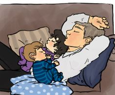 Lestrade passed out on the couch with baby Sherlock and baby John all cuddled up on his chest