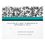 Turquoise and Black Wedding RSVP Custom Announcements