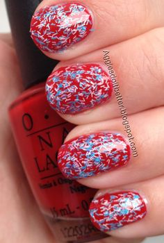July 4th patriotic nails! Red, white, and blue  Sally Hanson fuzzy coat blue (wool knot)