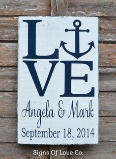 Love Beach Wedding Sign Personalized Gift Rustic Nautical Anchor Theme Signs Shower Decorations