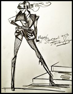 This handout image provided by Rubin Singer displays a sketch of Beyonce's Super Bowl Halftime costume as designed by Rubin Singer for her performace during the Super Bowl XLVII Halftime show on February 3, 2013 in New Orleans, Louisiana.