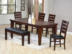 oak dining table with bench pads
