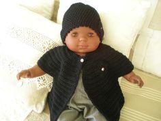 ensemble gilet sans manche et bonnet au crochet pour bébé : Mode Bébé par nany-made