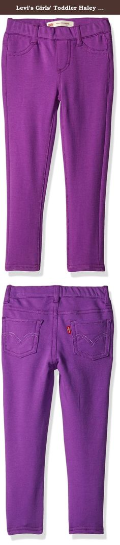 Levi's Girls' Toddler Haley May Super Skinny Pull On Legging, Bright Violet, 4T. For a fashionably super skinny look she'll love, put her in Levi's Haley may pull-on leggings. Made from super-soft French terry, they offer total comfort and maximize her mobility. They feature a stylish faux pocket design, with Levi's signature 5-pocket style, including rear pockets with arcuate stitch.