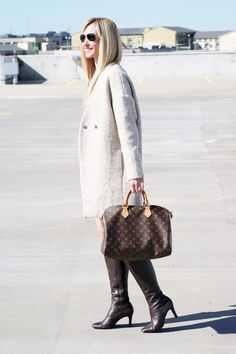 Winter coat over a mini dress. Louis Vuitton Speedy 35. Tall boots. Great Winter outfit!! Check out 2degreesofstyle.com to find out where to buy 2 coats for $50!!