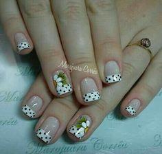 Classy Nail Designs, French Nail Designs, Nail Art Designs, Cute Nails, Pretty Nails, Gel Nails, Acrylic Nails, Daisy Nails, French Nail Art