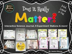 #Matter - This INTERACTIVE and ENGAGING unit will help your little scientists learn about matter. This unit will cover solid, liquid, gas, changes of matter, matter around us, properties of matter, etc.   Includes: 6 Interactive Journal Activities 6 Matter Stations Activities, Worksheets and more!