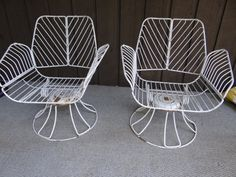 Homecrest Metal Swivel Patio Chairs Vintage Wrought Iron Mid Century Chair  Set With Ottoman Original Cushions