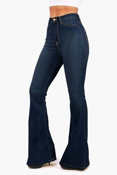 """High waist fitted denim pants with flared bottoms. Faux pockets on the front with button and zip fly. Comfortable stretchy material. Looks great with a cropped tee or tank. For a dressier look tuck in a chiffon cami or blouse. *Machine Wash Cold*49% Rayon 32% Cotton 17% Polyester 2% Spandex*44"""" 112cm Top to Bottom 32""""/ 81 cm Inseam (model is 5'6"""" and is wearing a size 3)*Made in USA"""