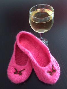 Ladies/Teen Hand Knit Felted Slippers in PinkBow by CozeeQuilts