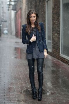chicago street fashion, leather leggings and navy nautical blazer