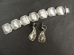 Vintage Siam Silver Bracelet Earring Set Screw Back Engraved Goddess Diety Thai