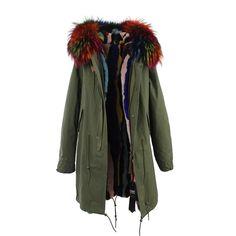 7383c1f3b7b86 JAZZEVAR New Fashion women s Large raccoon fur collar parka Midi hooded  Military coat outwear rabbit fur lining winter jacket