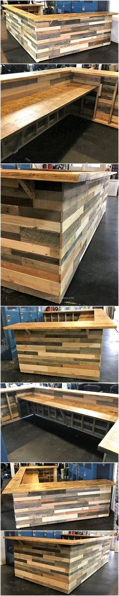 A beautiful wooden bar structure is the desire of every house maker. Keeping your heartiest desires in mind, we are going to provide you an exceptional idea for the designing of a stunning bar counter idea. This wonderful pallet craft is awesomely styled out with the rustic wooden pallet taste in it. Each and every pallet stack is so amazingly located to give this creation a neat and clean look.
