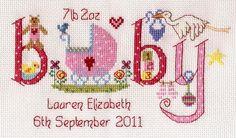 Baby Girl Birth Sampler Cross Stitch Kit