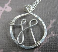 Personalized Custom Monogram Necklace Sterling Silver Wire Wrapped Jewelry. $44.00, via Etsy.