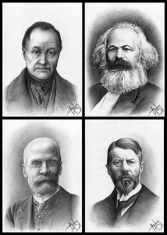Let me indtroduce you the founders of Sociology: Top left - Auguste Comte, Top right - Karl Marx, Bottom left - Emile Durkheim, Bottom right - Max Weber