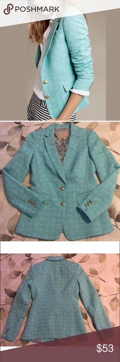 Banana Republic Turquoise Poly Blazer 0 Women's Banana Republic Blazer  Retro Style Polyester blend with Textured Fabric  Blue Gold buttons with striped lining  Sz 0 XS  EUC Retail $150 Banana Republic Jackets & Coats Blazers