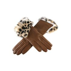 Tan Leather Gloves with Leopard Print Rabbit Cuff ❤ liked on Polyvore
