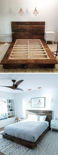 DIY Reclaimed Wood Platform Bed Make your bed literally! With our handy diagram you'll have everything you need to build your own custom reclaimed wood platform bed. The post DIY Reclaimed Wood Platform Bed appeared first on Wood Diy. Mattress Frame, Bed Frame And Headboard, Diy Bed Frame, Headboard Ideas, Diy Headboards, Diy Wooden Headboard, Easy Frame, Simple Wood Bed Frame, Headboard Pallet