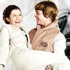 Carrie Fisher and Mark Hamill behind the scenes of The Empire Strikes Back