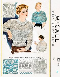 1930s 30s McCall 421 vintage blouse sewing pattern long or short sleeve handmade lace braid bust 34 b34 repro English & French