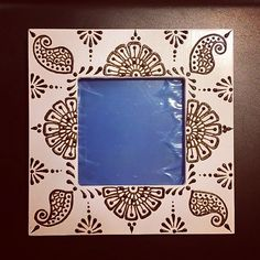 4x4 inch white Wood Henna Mehndi Frame with by NewWorldHenna, $28.00