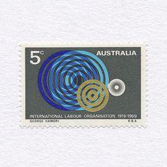 International Labour Organisation 50th Anniversary (5c). Australia, 1969. Design: George Hamori. #mnh #graphilately