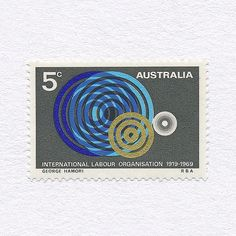 International Labour Organisation 50th Anniversary (5c). Australia, 1969. Design: George Hamori. #mnh #graphilately