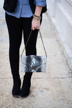 Fur vest, chambray shirt amd snakesknin bag via With Style and a Little Grace: Glam Vest